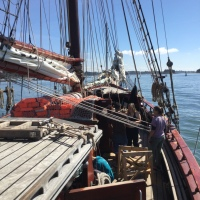 Learning to sail with tall ship Atyla in Brittany, France